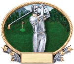 3D Oval -Golf Male  3D Oval Resin Trophy Awards