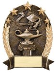 5 Star Oval -Lamp Of Knowledge 5 Star Oval Resin Trophy Awards