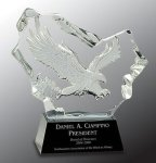 Crystal Carved Eagle Award Black Optical Crystal Awards