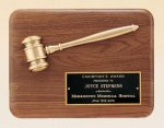 American Walnut Plaque with Antique Bronze Gavel Boss Gift Awards