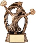Antique Bronze and Gold Award -Cheer  Bronze and Gold Star Resin Trophy Awards