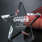 Tapered Star Clear Optical Crystal Awards