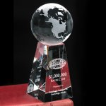 Tapered Globe Clear Optical Crystal Awards