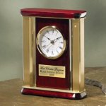 Large Brass and Wood Desk Clocks
