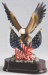 Eagle with American Flag On Base Eagle Resin Trophy Awards