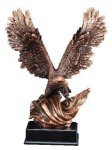 Bronze Eagle With Flag Eagle Resin Trophy Awards