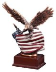 Resin Eagle With Flag Eagle Resin Trophy Awards