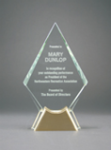 Diamond Glass with  Gold Metal Base Employee Awards