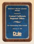 American Walnut Plaque with Marble Finished Plates Employee Awards