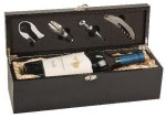 Single Wine Box With Tools -Black Finish Executive Gift Awards
