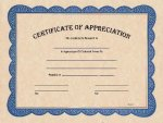 Certificate of Appreciation Award Fill in the Blank Certificates