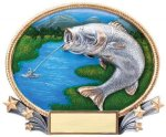 3D Oval -Bass Fishing Trophy Awards