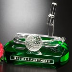Putter Award Green Optical Crystal Awards