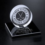 Hockey Puck on Black Glass Base Hockey Trophy Awards