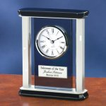 Smoke Glass with Chrome Metal Mantle Clocks