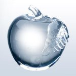 Molten Glass Apple Clear Leaf Misc. Gift Awards