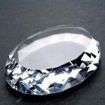Gem Cut Oval (Flat Bottom) Paper Weight Crystal Awards