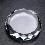 Gem Cut Round Paper Weight Crystal Awards