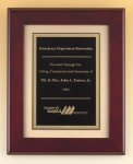 Rosewood Piano Finish Plaque with Florentine Plate Recognition Plaques