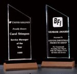 Zenith Summit Acrylic Award with Black Pedestal Walnut Base Sales Awards