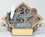 Resin Diamond Plate -Lamp Of Knowledge Scholastic Trophy Awards