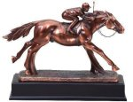 Resin Horse And Jockey Signature Black Resin Trophy Awards