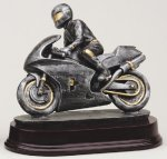 Racing Motorcycle Signature Rosewood Resin Trophy Awards