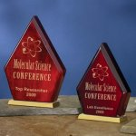 Diamond-Shaped Wood Wood Metal Accent Awards